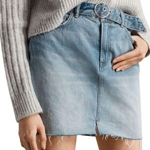 AllSaints Belted Denim Mini Skirt